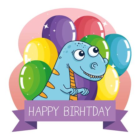 thescelosaurus animal with balloons and ribbon decoration to happy birthday vector illustration Çizim