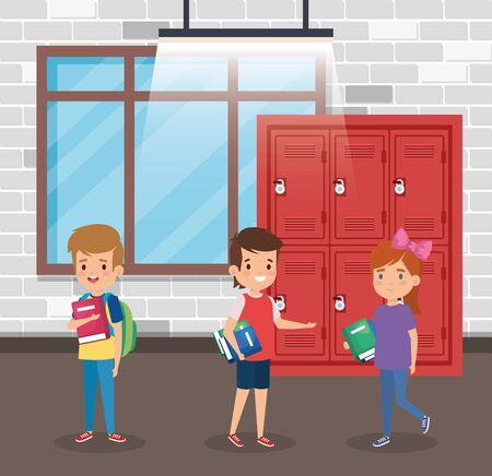 boys and girl with books and lockers in the classroom to back to school vector illustration