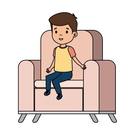 little boy sitting in sofa character vector illustration design Çizim