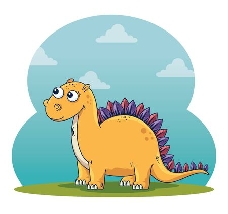 stegosaurus wild dinosaur character with clouds to prehistoric animal vector illustration Çizim