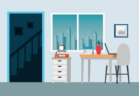 laptop with books and desk with chair and plant in the business office, vector illustration Çizim
