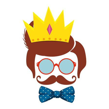 sunglasses and mustache with bowtie and crown hipster style vector illustration