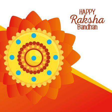 poster of hindu flowers event decoration to raksha bandhan, vector illustration