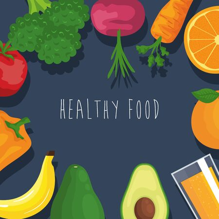 fresh vegetables and fruits organic nutrition background to healthy food vector illustration