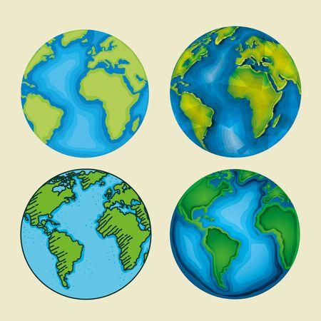 set ecology planet with nature conservation vector illustration Иллюстрация
