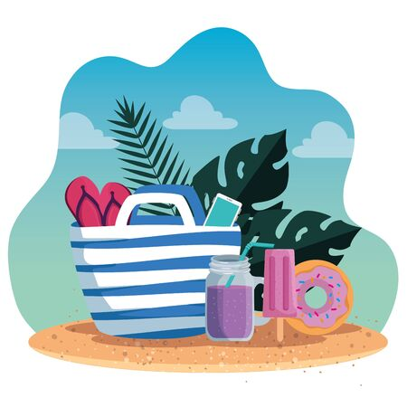 tropical leaves plants with flip-flop inside purse and smoothie to summer time vector illustration