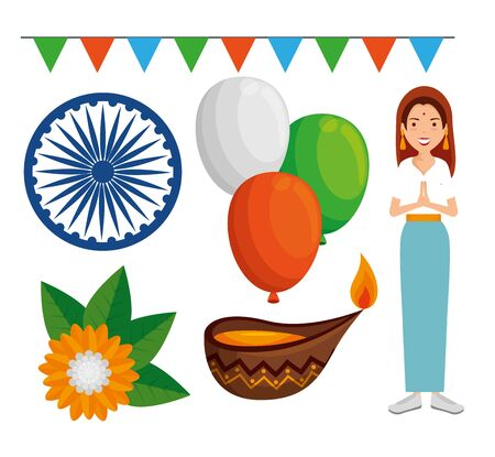 set of india independence day decoration over white background vector illustration