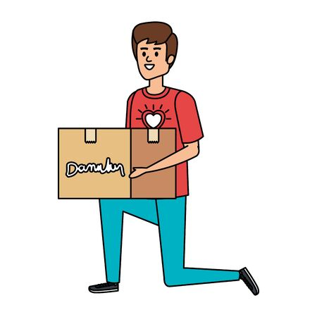 young man volunteer lifting donations box vector illustration design