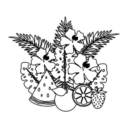fruits with leafs palms and flowers vector illustration design Illustration