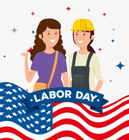 businesswoman and woman builder with usa flag to labor day, vector illustration Illusztráció
