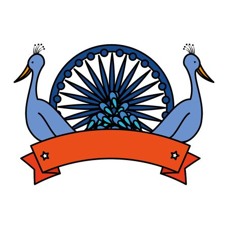 ashoka chakra indian with peacocks birds vector illustration design  イラスト・ベクター素材