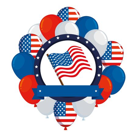 frame with balloons helium and usa flag vector illustration design