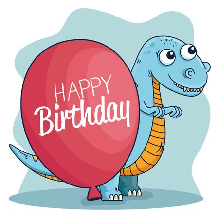 thescelosaurus wild animal with balloon decoration to happy birthday vector illustration