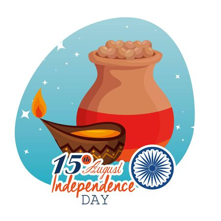 india independence day holiday celebration with candle vector illustration