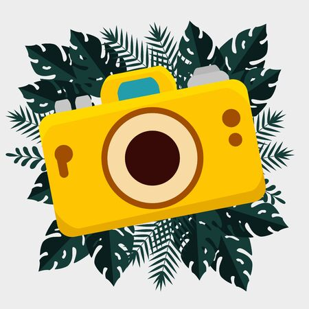 camera with tropical branches leaves plants to summer holiday vector illustration Illusztráció