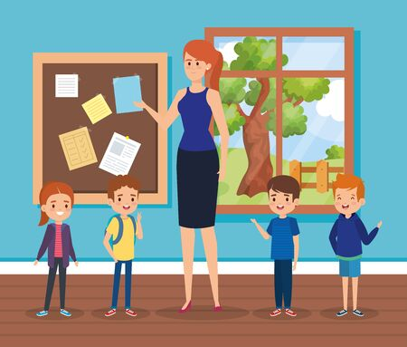 woman teacher in the classroom with note board and kids to academic education vector illustration Illustration