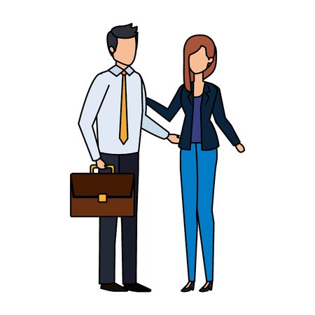 business couple with portfolio vector illustration design 写真素材 - 129825062