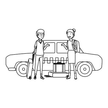 tourist couple with suitcases in taxi characters vector illustration design