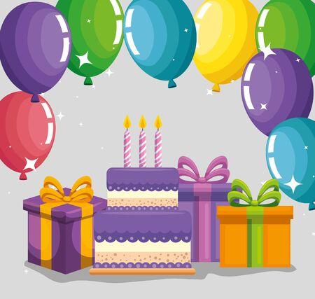 celebration party event decoration design to happy birthday vector illustration