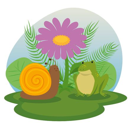snail and frog animals with flower and branches leaves plants to tale character, vector illustratiion