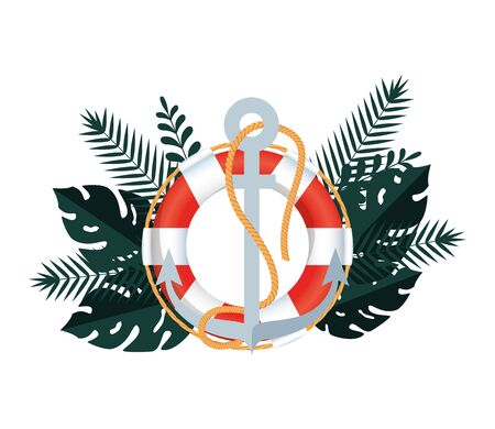cornice estiva con foglie tropicali e disegno di illustrazione vettoriale di bagnino galleggiante