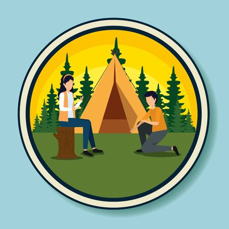 label of woman and man with camp and pines trees to tourism adventure vector illustration Stock Illustratie
