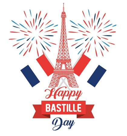 eiffel tower with france flags and fireworks to bastille celebration vector illustration Zdjęcie Seryjne - 129825073