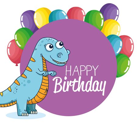 label of diplodocus with balloons decoration event to happy birthday vector illustration