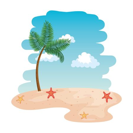 beach seascape scene with starfish vector illustration design Stock Illustratie