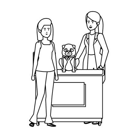 female veterinary with dog in the office vector illustration design Çizim