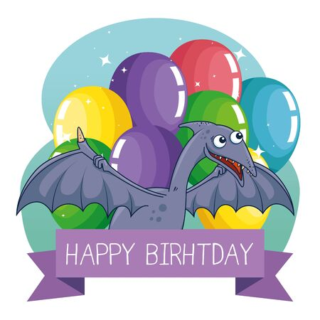pterosaurus animal with ribbon and balloons decoration to happy birthday vector illustration Çizim