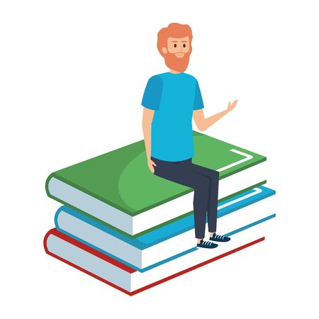 young teacher male sitting in books character vector illustration design