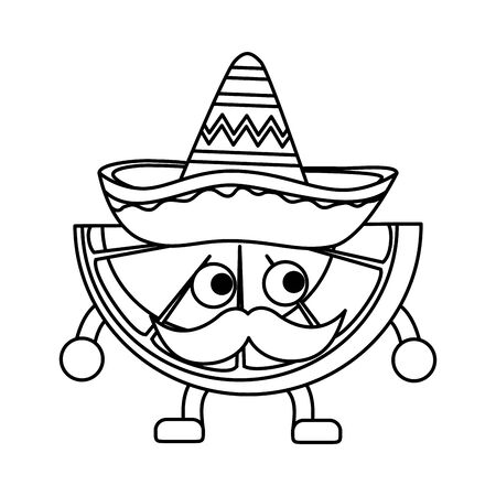lemon with mexican hat and mustache vector illustration design Çizim