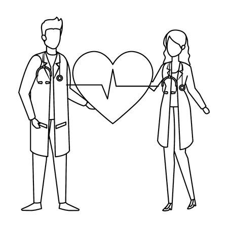 couple of professionals doctors with heart cardio vector illustration design Çizim
