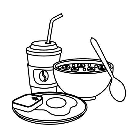 delicious breakfast menu icons vector illustration design Çizim