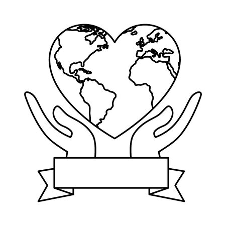 hands lifting world planet earth vector illustration design