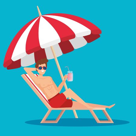 man in the tanning chair with juice beverage and umbrella to summer time vector illustration