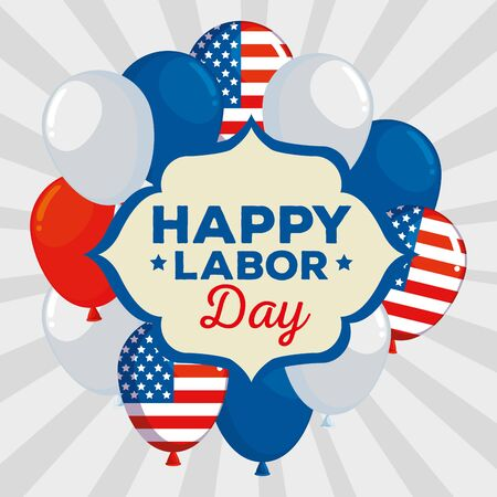 emblem of happy labor day traditional celebration with balloons decoration, vector illustration