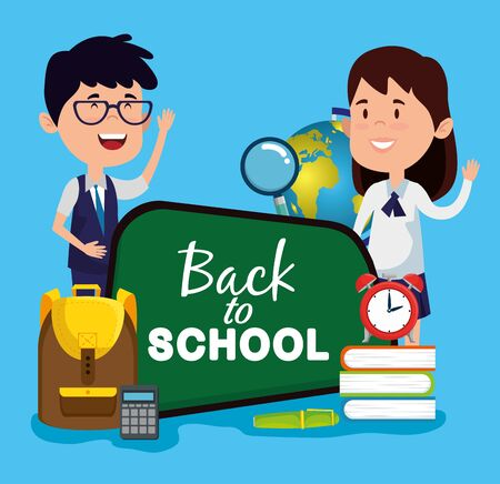 boy and girl with blackboard with books and calculator and clock alarm to back to school vector illustration Illustration