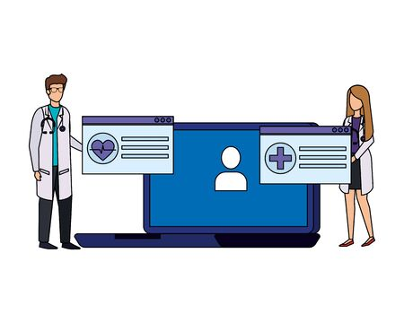 couple of professionals doctors with laptop telemedicine vector illustration design Çizim
