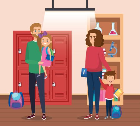father and mother with girl and boy students with backpack in the classroom vector illustration