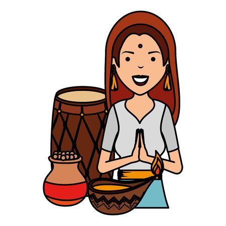 beautiful woman from india with cultural items vector illustration design Illustration