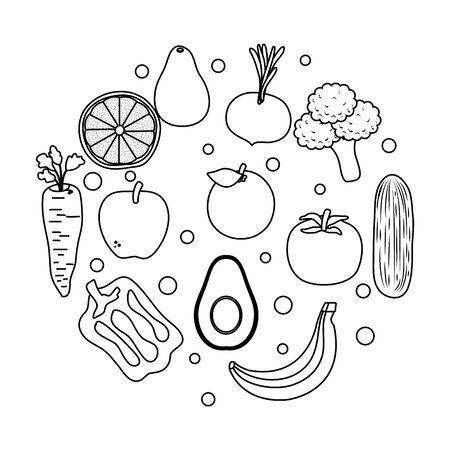 Légumes frais et fruits conception d'illustration vectorielle d'aliments sains
