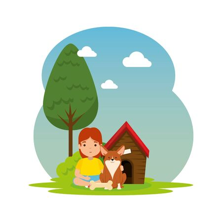 cute little girl with puppy and wooden house in the camp vector illustration design
