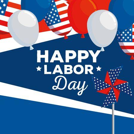 usa balloons flag decoration to celebrate of labor day, vector illustration Illusztráció