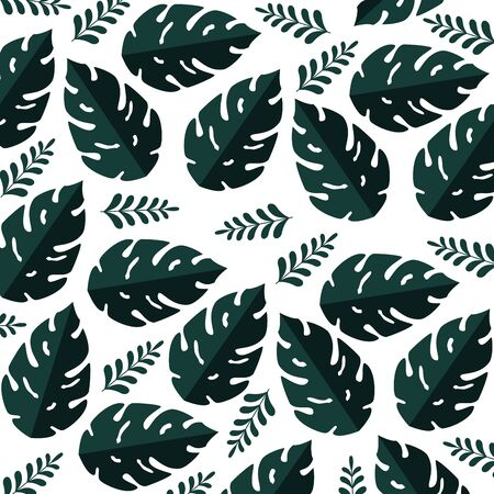 summer pattern with tropical leafs plants vector illustration design