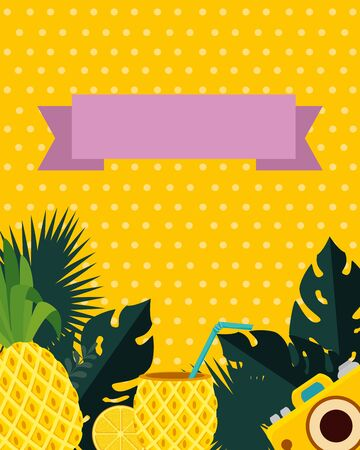 summer frame with tropical pineapple cocktail and camera vector illustration