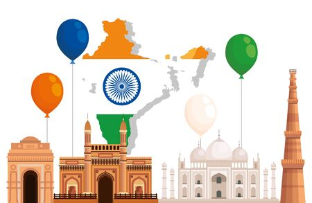 india map with taj mahal and architecture to independence day vector illustration