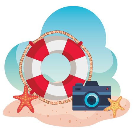 float with camera and starfishes in the beach sand to summer time vector illustration Illusztráció