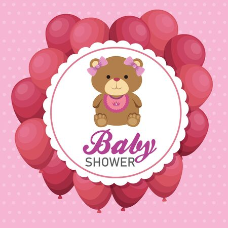label of girl teddy bear with pink balloons to baby shower vector illustration